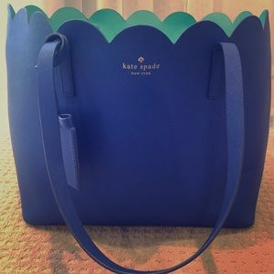 Kate spade New York large scallop tote royal blue